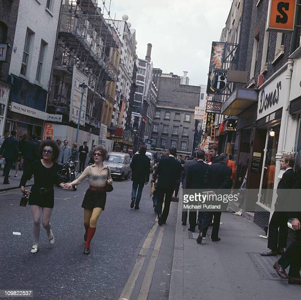 Shoppers on Carnaby Street London circa 1968