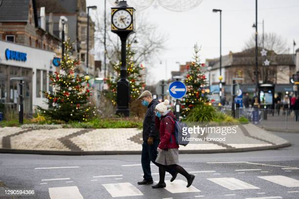 Shoppers on December 10, 2020 in Penarth, Wales. The number of coronavirus patients in hospital in Wales is at the highest rate yet recorded....
