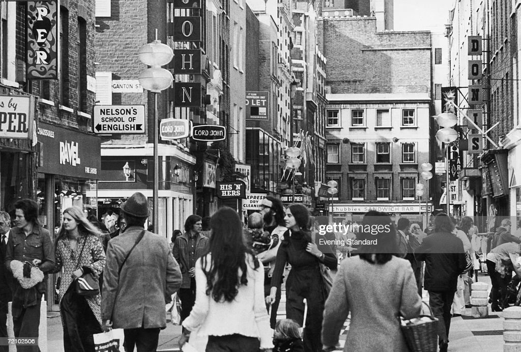 Shoppers on London's fashionable Carnaby Street, October 1973.