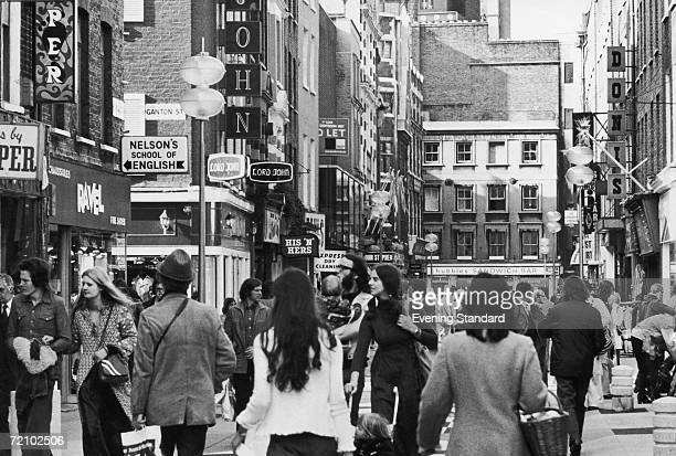 Shoppers on London's fashionable Carnaby Street October 1973