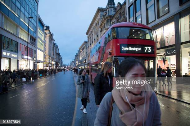 Shoppers on Oxford Street in central London United Kingdom This is the busiest shopping district in the capital with Oxford Street being the most...