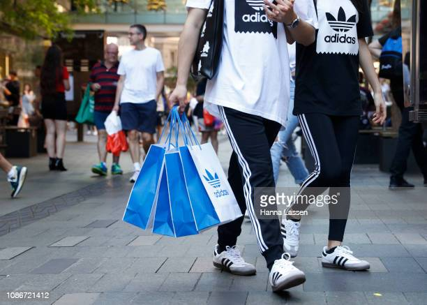 Shoppers on Pitt Street during the Boxing Day sales on December 26 2018 in Sydney Australia Boxing Day is one of the busiest days for retail outlets...