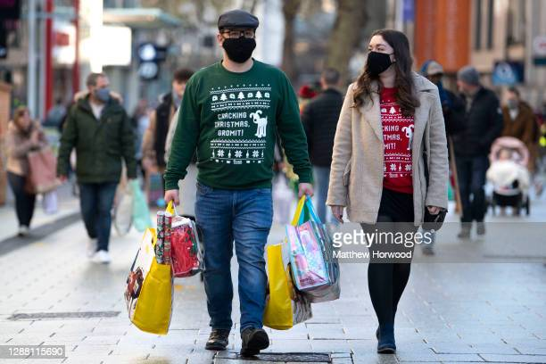 Shoppers on Queen Street on Black Friday on November 27 2020 in Cardiff Wales Restrictions across Wales have been relaxed following a twoweek...