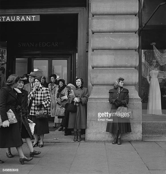 Shoppers outside the Swan Edgar department store between Piccadilly and Regent Street London circa 1953
