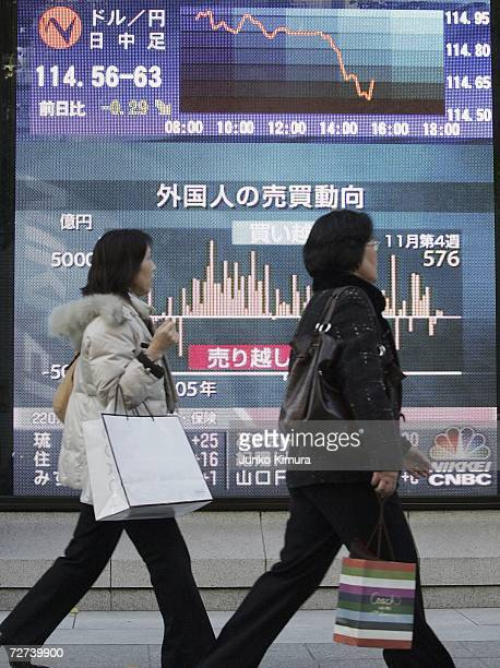 Shoppers pass by an electric board indicating the foreign currency 1145962 yen against US dollar at a foreign exchange brokers on December 6 2006 in...
