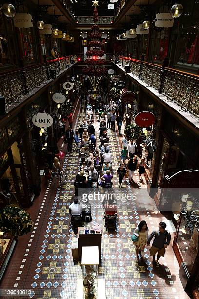 Shoppers purchase last minute Christmas gifts at the Strand Arcade on December 21 2011 in Sydney Australia Retailers are preparing for a rush of...