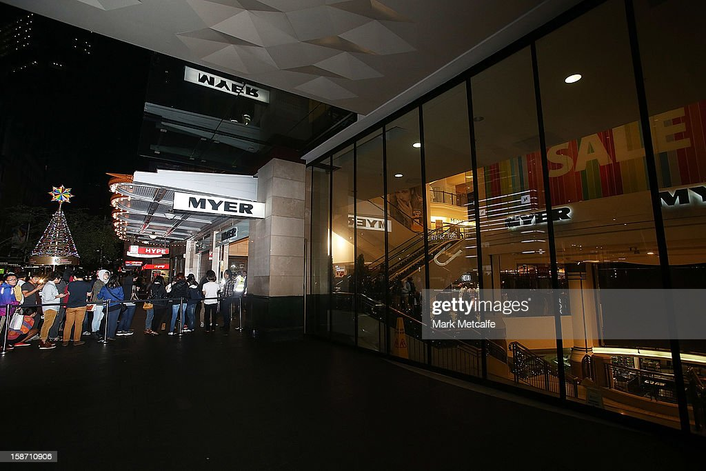 Shoppers queue in line for the Boxing Day sales at the Myer store on Pitt Street on December 26, 2012 in Sydney, Australia. Boxing Day proves to be one of the busiest days for retail outlets in Sydney with thousands flocking to post-Christmas sales.