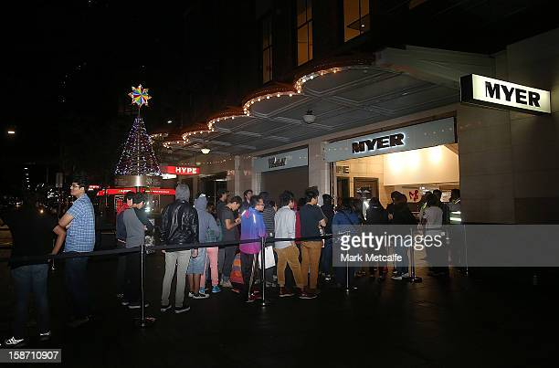 Shoppers queue in line for the Boxing Day sales at the Myer store on Pitt Street on December 26 2012 in Sydney Australia Boxing Day proves to be one...