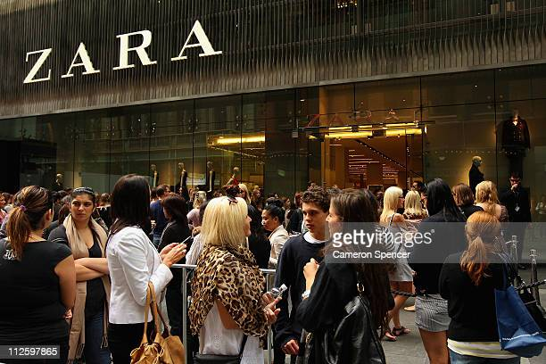 Shoppers queue outside Zara as it opens the doors to its Westfield Pitt Street Mall store on April 20 2011 in Sydney Australia This is the first...