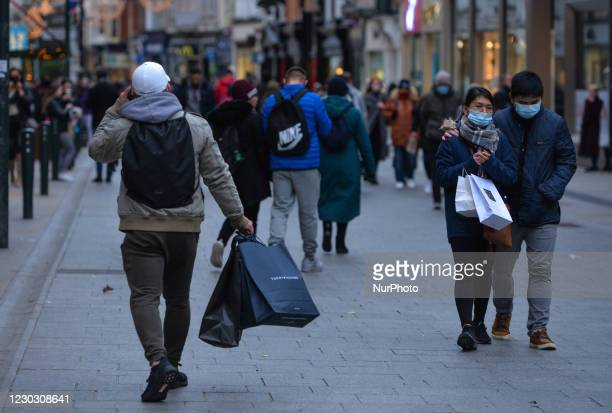 Shoppers seen on Grafton Street in Dublin city centre on St. Stephen's Day. Taoiseach Micheal Martin announced on December 22nd a series of new Level...