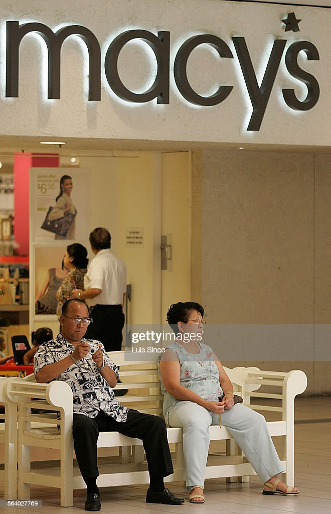 Shoppers Sit Outside A Macyu0027s Store At The Westfield West Covina Shopping  Mall In West Covina