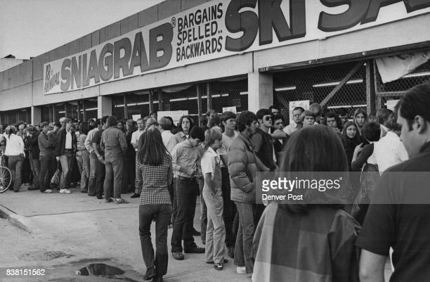 Shoppers Turn out En Masse as Gart Brothers Opens Annual Ski Sale Here's a portion of the crowd which greeted the Labor Day weekend opening of the...