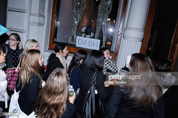 Shoppers wait to enter newly opened Dash Soho clothing store on November 4 2010 in New York City