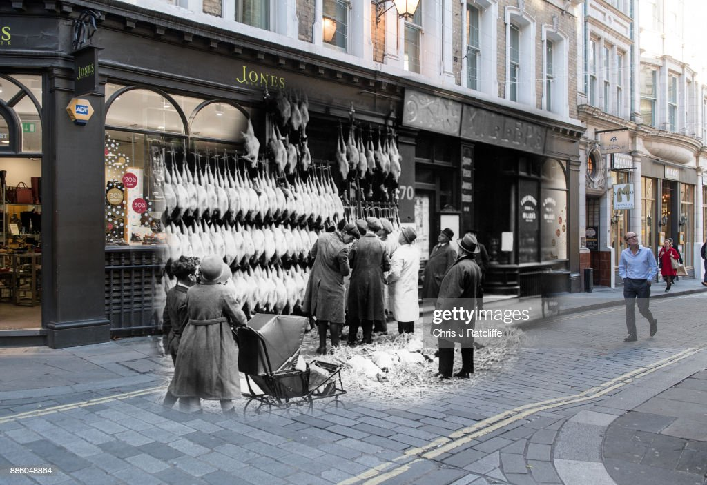 Christmas turkeys hanging outside a poulterers in Watling Street, London in 1923 and 2017.