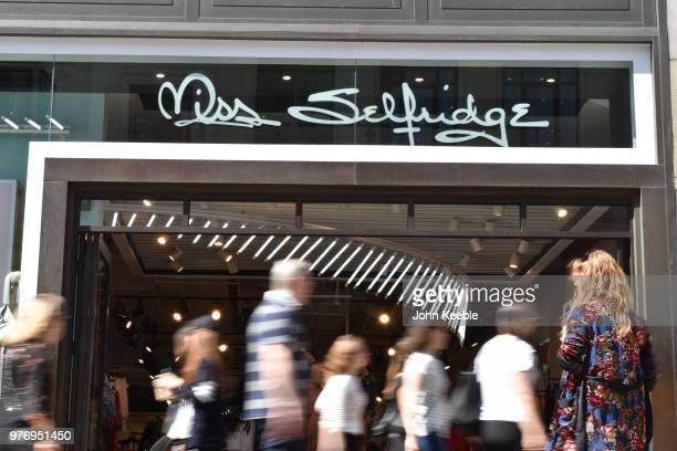 a8e132a254297 Shoppers walk past a Miss Selfridge fashion retail shop entrance on Oxford  Street on June 11