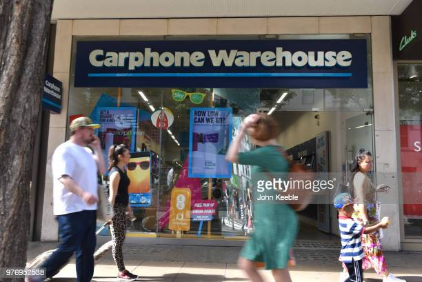 Shoppers walk past Carphone Warehouse mobile phone retail shop on Oxford Street on June 11 2018 in London England
