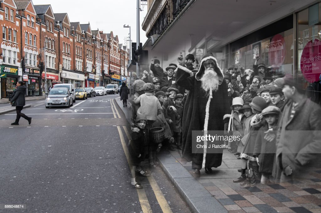 Santa arriving at Arding and Hobbs store, Clapham Junction in 1926 and 2017.