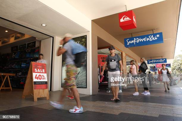 Shoppers walk past stores in the Manly Corso retail area in Sydney Australia on Friday Jan 5 2018 The Australian Bureau of Statistics is scheduled to...