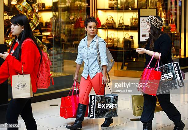 Shoppers walk with bags as they take advantage of Black Friday deals at Somerset Collection shopping mall on November 29 2013 in Troy Michigan Black...