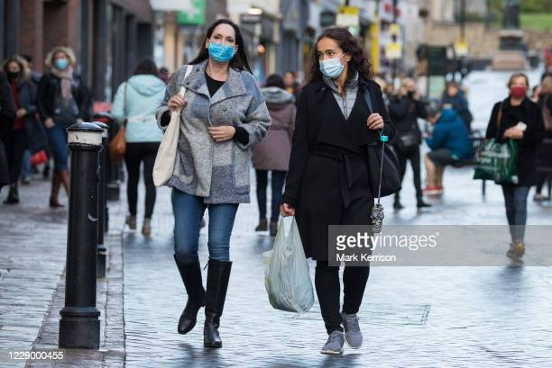 Shoppers wear face coverings to help prevent the spread of the coronavirus on 10 October 2020 in Windsor, United Kingdom. The Royal Borough of...