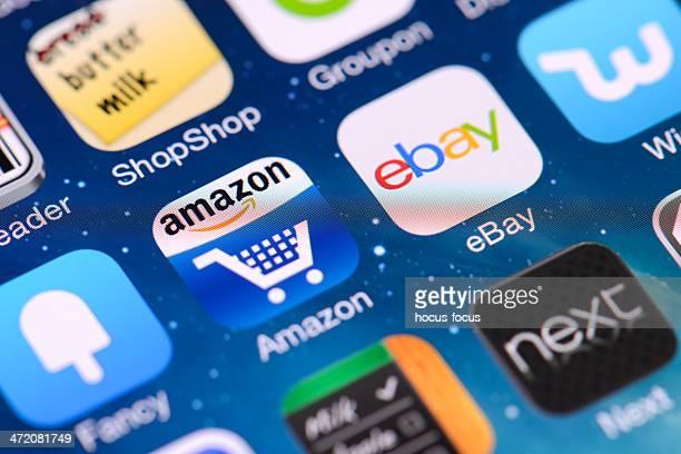 ショッピングの iphone アプリケーション - ebay ストックフォトと画像