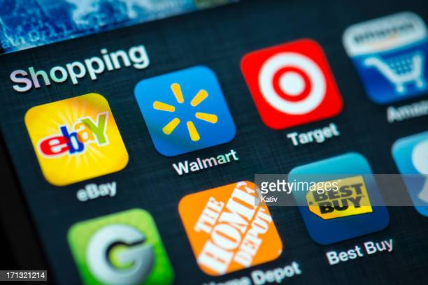 shopping apps on apple iphone 4s screen - wal mart stock pictures, royalty-free photos & images