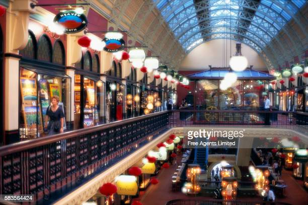 shopping arcade in the queen victoria building - queen victoria stock pictures, royalty-free photos & images