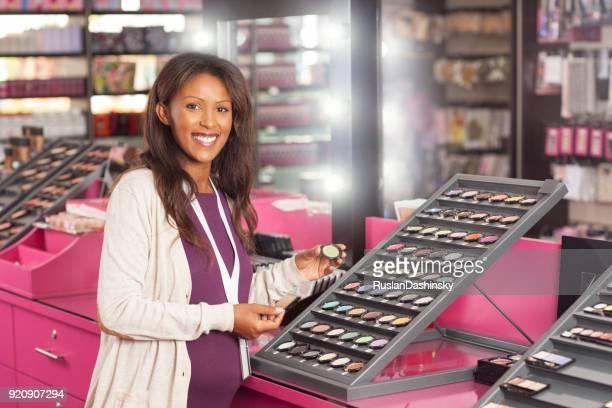 Shopping at beauty shop.