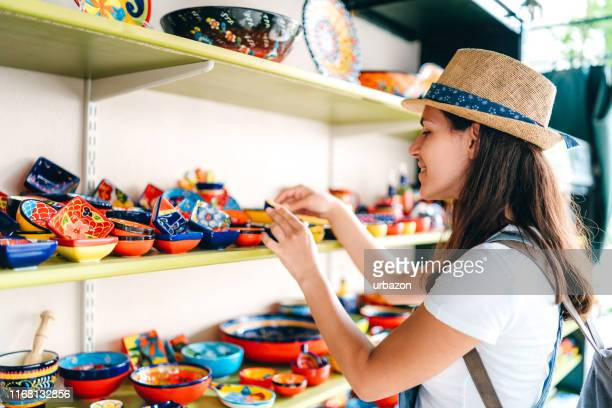 shopping at street market - greece tourism stock pictures, royalty-free photos & images