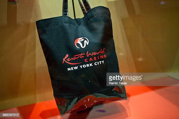A shopping bag is displayed at a gift shop inside of Genting's new Resorts World New York casino at Aqueduct Race Track in Jamaica section of Queens...