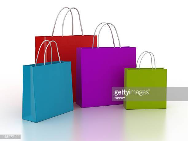 shopping bag series - multi coloured purse stock photos and pictures