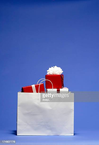 Shopping Bag with Red and White Christmas Presents