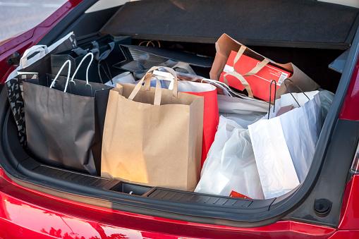 shopping bags in car 824998740
