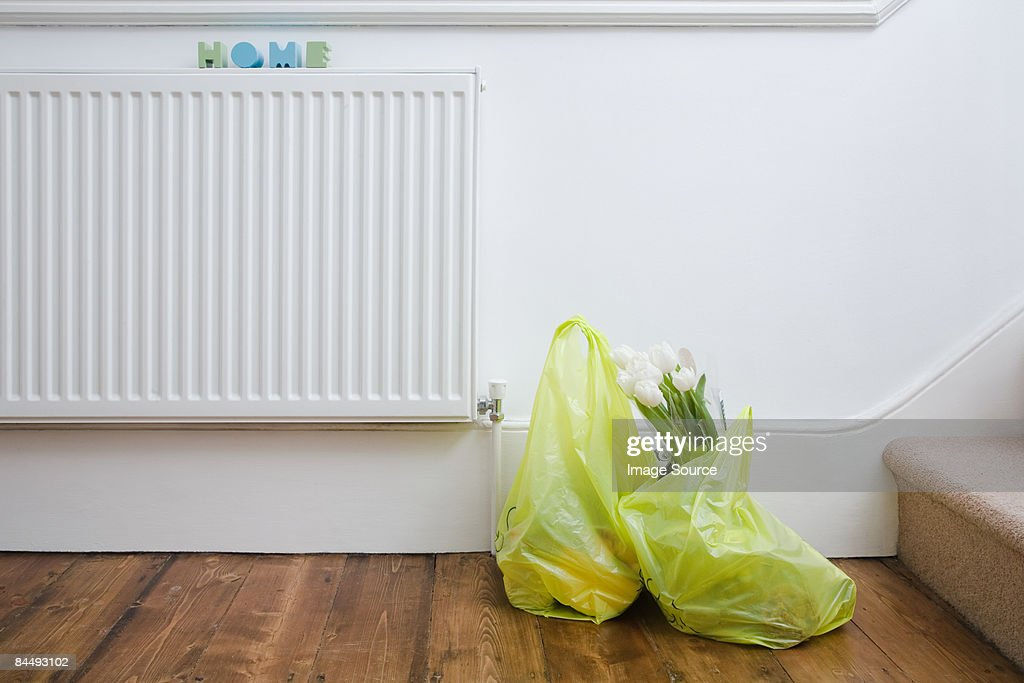 Shopping bags in house : Stock Photo