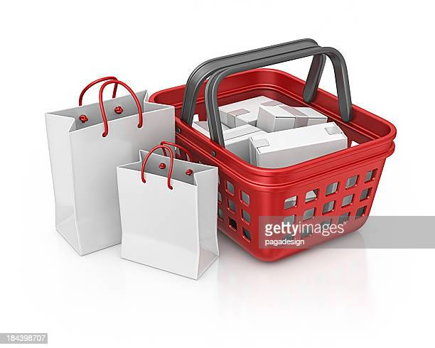 shopping basket and bags