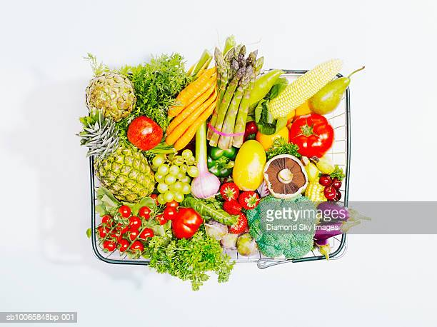 Shopping basket containing fruit and vegetables, close-up