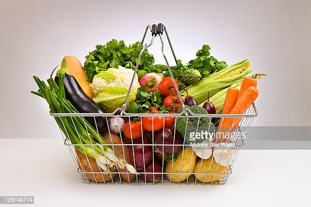 Shopping basket filled with fresh vegetables