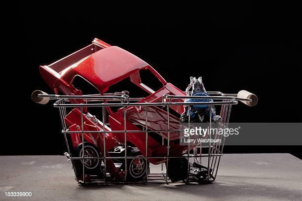 Shopping basket of car parts