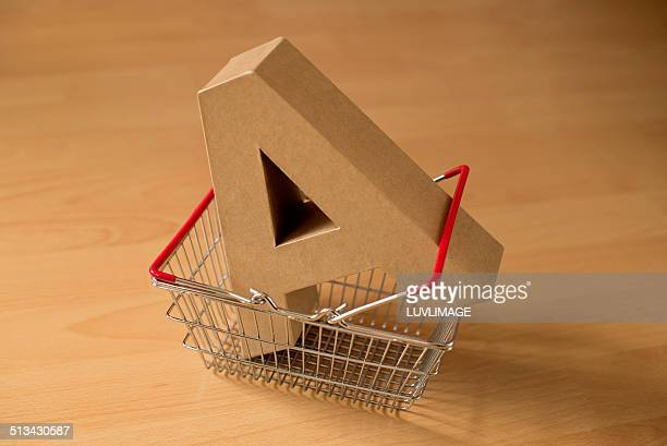Shopping basket with capital letter A in it
