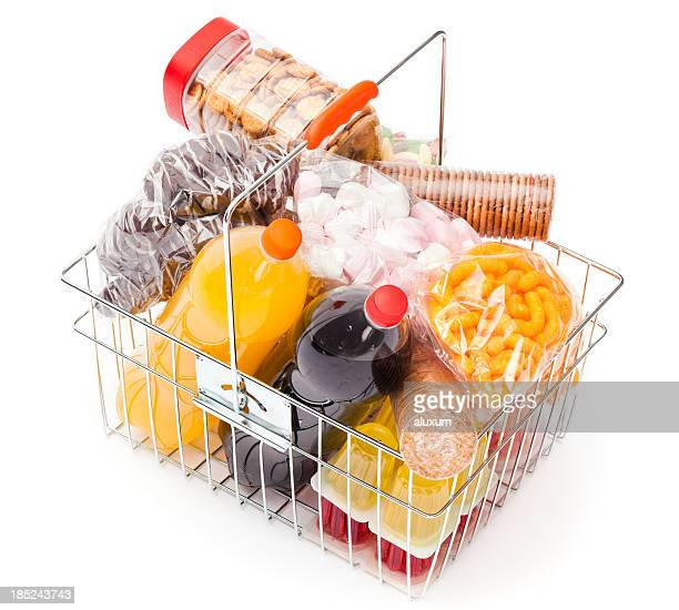 Shopping basket with unhealthy food
