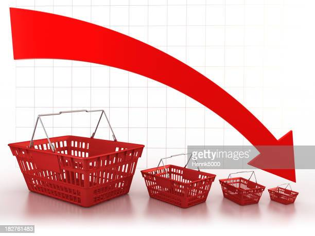 Shopping baskets decreasing in size (Clipping path included)