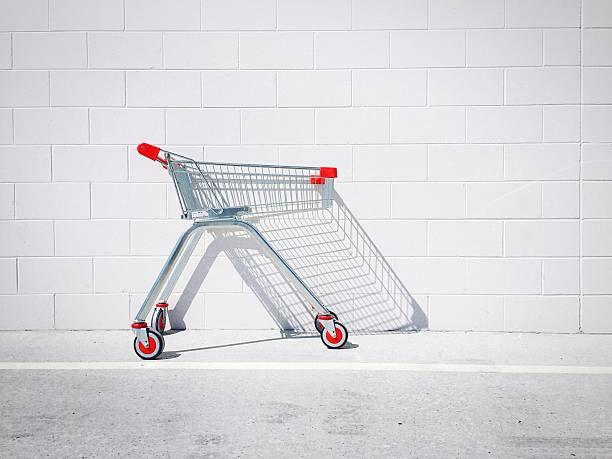 Shopping Cart Against White Wall Wall Art