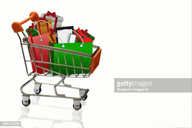 Shopping cart and bags for christmas gifts and shopping in trolley isolated