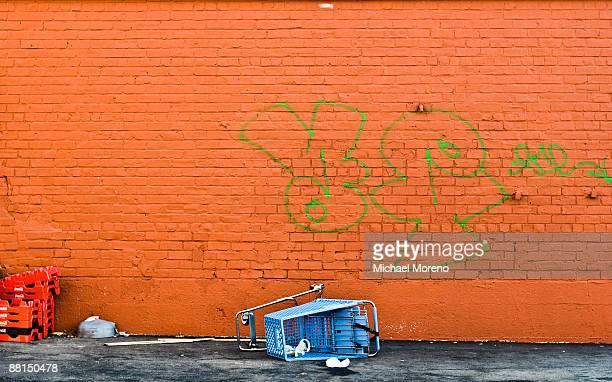 Shopping Cart and Graffiti Wall