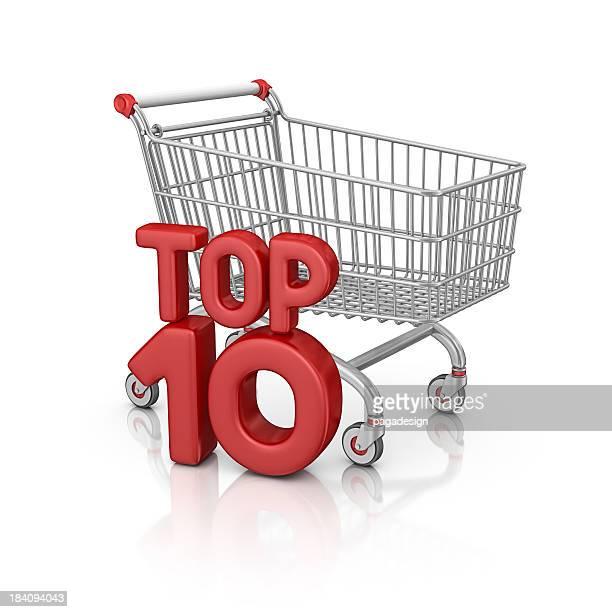 Einkaufswagen und top ten