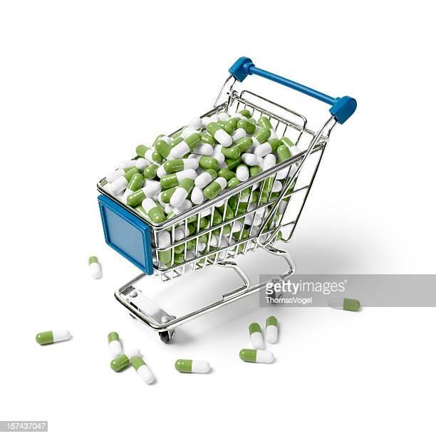 Einkaufswagen mit Kapseln. Basket Business Fitness-Tablette Shop