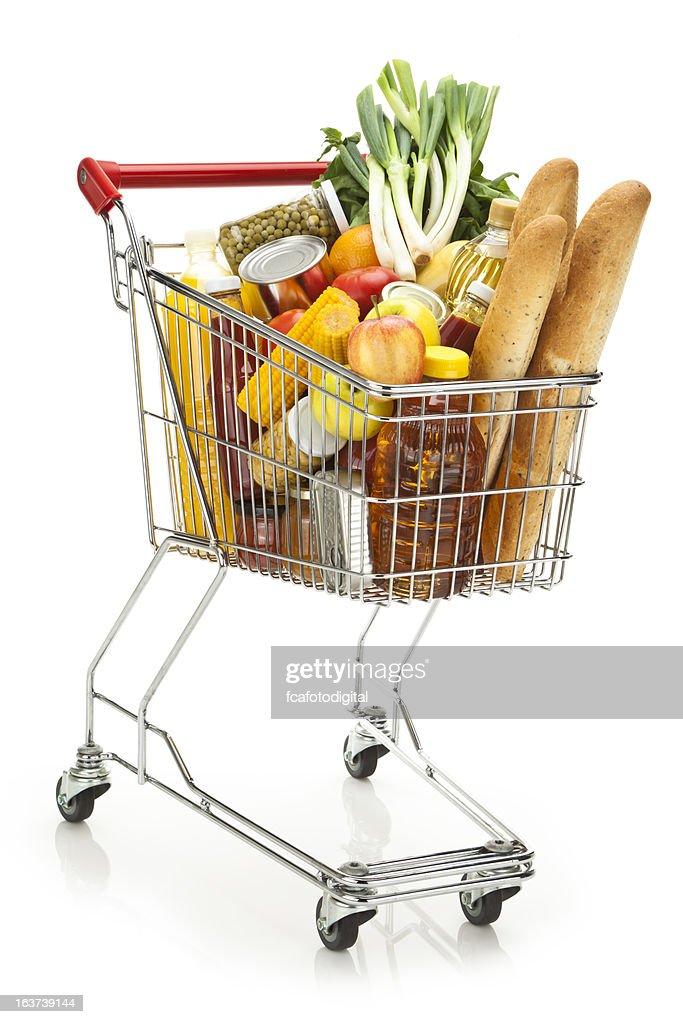 Einkaufswagen voller Auswahl an Lebensmitteln auf weißem Hintergrund : Stock-Foto