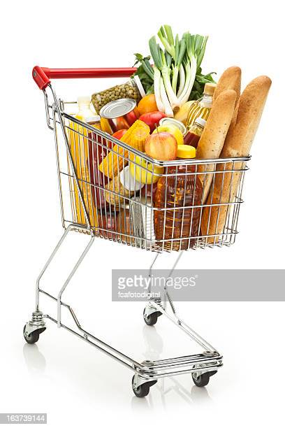 shopping cart filled with variety of groceries on white backdrop - full stock pictures, royalty-free photos & images