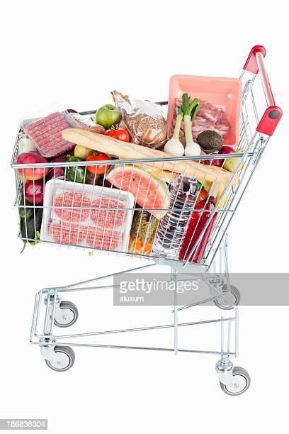 Einkaufswagen voller auf Speisen