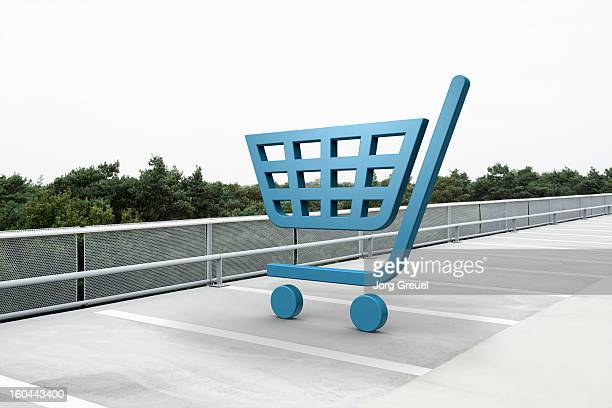 Shopping cart icon in car park